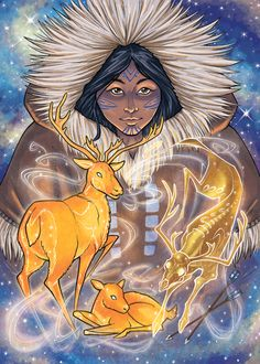 """Pinga – She is the Inuit goddess of fertility and healing. Among the inland """"Eskimo"""", she was named """"Mother of the Caribou"""" and was believed to dwell in heaven. Arte Inuit, Inuit Art, Native American Mythology, Native American Art, Mythological Creatures, Mythical Creatures, Animal Reiki, World Mythology, Tarot"""