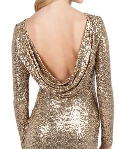 gold sequin cowl back dress | gold metallic bridesmaids dress | gold wedding dress...love all the sparkle!