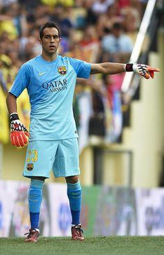 Claudio Bravo of Barcelona reacts during the La Liga match between Villarreal CF and FC Barcelona at El Madrigal stadium on August 31, 2014 in Villarreal, Spain.