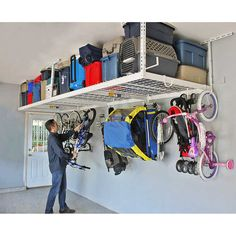 Home theaters hacks SafeRacks Overhead Garage Storage Rack Heavy Duty Ceiling Drop) Only 10 In Stock Order Today! Product Description: **SafeRack 4 x 8 Heavy Duty Overhead Garage Storage Rack is designed to he Overhead Storage Rack, Garage Storage Racks, Garage Organization Tips, Garage Storage Solutions, Storage Ideas, Garage Shelving, Cheap Storage, Storage Hacks, Garage Ceiling Storage