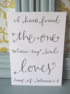 Hand Lettered Scripture Art // Hand lettered Song by BeanstalkLoft, $25.00