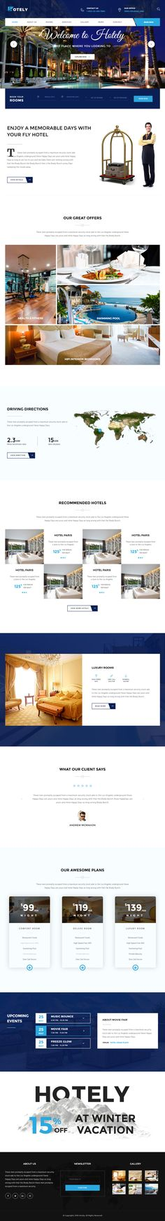 Hotely is Premium full Responsive Retina Hotel Template. If you like this Theme visit our handpicked list of best Templates at: Ux Design, Web Design Examples, Site Design, Hotel Website Templates, Modern Website, Tourism Website, Layout, Web Design Inspiration, Design Ideas