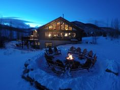 Mount Crested Butte house rental - Winter View of Sunset by the Fire Pit on the… Colorado Resorts, Foreclosure Listings, Crested Butte, Great Vacations, Rustic Elegance, Cabin, Mansions, House Styles, Iphone App