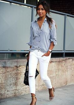 Take a look at 14 stylish spring outfits with white jeans in the photos below and get ideas for your own amazing outfits! White jeans, chambray shirt and brown accessories Amazing Outfits Image source White Pants Outfit, Outfit Jeans, Dress Pants, Blue Striped Shirt Outfit, White Jeans Outfit Summer, Mode Outfits, Trendy Outfits, 30 Outfits, Long Shirt Outfits