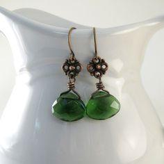 Emerald Green Earrings Teardrop Copper Dangle by CinLynnBoutique, $16.00