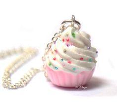 Pink Cupcake Necklace with Rainbow Sprinkles - Cute, kawaii fake miniature food jewelry