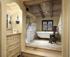 Rustic wood floor at Master Tub