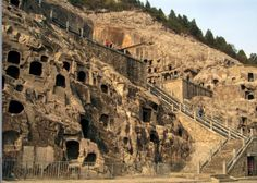 Longmen Grottoes at Luoyang city. One of three most famous stone cave treasures in China.