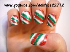 Glitter Candy Stripe - Nail Art Gallery by NAILS Magazine