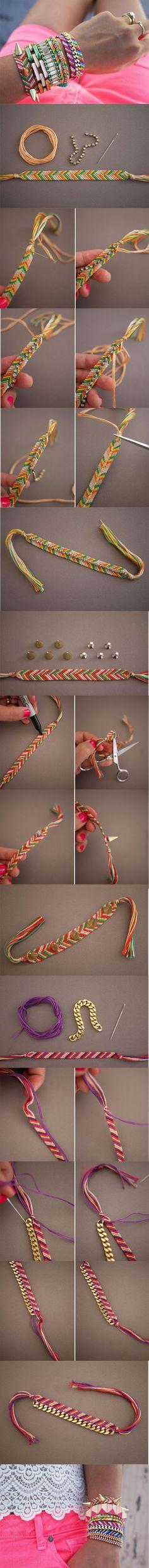 3 modelos mais elaborados de pulseiras da amizade- com strass, com spikes e com corrente.