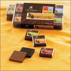 """Organic Chocolate Squares 24pc    All Natural, Made in Vermont, Kosher, #Y519024001    Organic Chocolates  We searched the world for organic chocolates worthy of our quality standards. We finally found them. The finest organic chocolates, united with unexpected ingredients, renew your faith in chocolate's astonishing ability to continue surprising you. Inside this box, flavor combinations that sound like dreams transform into stimulating realities. Martha Stewart's Magazine """"Body + Soul""""…"""