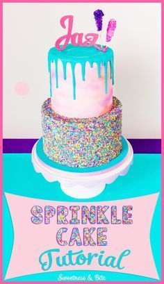 Sprinkle Cake Tutorial ~ A step-by-step tutorial on applying sprinkles to a fondant-covered cake, and how to make your own custom coloured sprinkles.