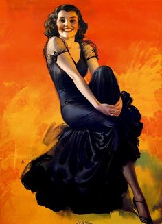 Rolf Armstrong  TITLE: I'll be Waiting  DATE: 1942  MODEL: Jean Dodson.  NOTES: Brown & Bigelow.