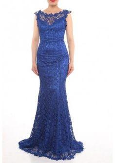 Designer Meerjungfrau 2017 Abendkleid Alina mit Sexy Rueckenausschnitt Blau