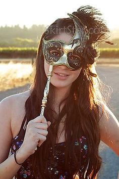 Black and Gold Masquerade Mask with Stick Handle