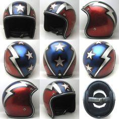 Vintage Helmet Metal Flake Star Thunderbolt