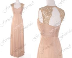 Champagne Prom Dress Wedding Dresses Lace Straps by Formals, $139.00