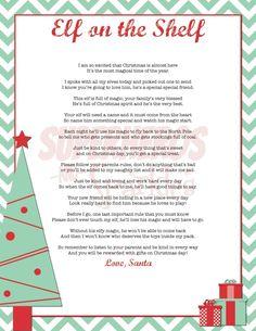Elf on the Shelf Intro Poem for little kids. FREE printable!