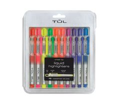 TUL Liquid Pocket Chisel Tip Highlighters, 10 Colored Highlighters