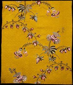 Spitalfields silk brocade dress panel c. 1749-1752