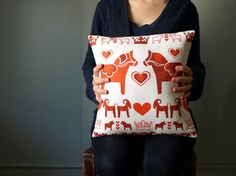 Red Swedish Printed Pillow with Dalahäst and by LilleputtStudio, $32.00