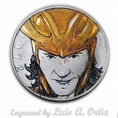 Loki T.H. S1067 Ike Hobo Nickel Engraved & Colored by Luis A Ortiz