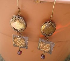 Be Wise as an Owl Mixed Media Dangle Earrings Vintaj Brass originally 40 dollars now 20 spring sale