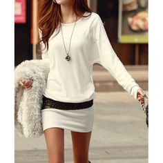Stylish Scoop Neck Long Sleeve Packet Buttock Sequin Embellished Slimming Cotton Dress