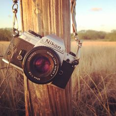 Vintage Nikon FG(1982). On a fence post in rural south Texas.