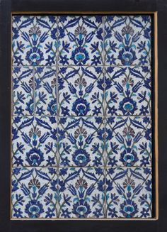 Tile panels with tulips, carnations, palmettes, & leaves, 17th C Presented by J.Feeney to the collection of Birmingham Art Gallery in 1890 #bmag130