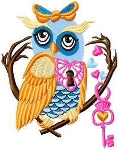 Owls Holding Hearts ~ Oriental Embroidery