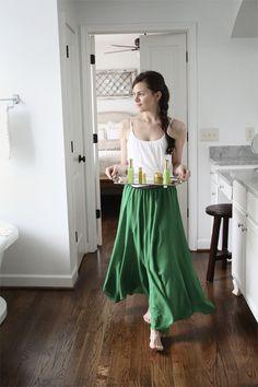 skirt and hair