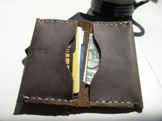 Handmade Brown Leather Card Case Minimalist by CSherwoodLeather