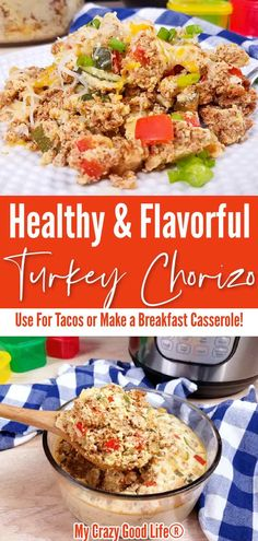 This healthy Chorizo and Eggs Casserole is a spicy and flavorful turkey chorizo recipe. Eat this as a filling for tacos and burritos or turn it into a breakfast casserole! Instant Pot and Stovetop directions included. #instantpot #healthy #breakfast #chorizo