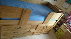 3 Drawer cabin bed in traditional stained pine. Aspenn Furniture hand make bespoke cabin beds designed by you from solid natural woods, no mdf! You design everything from the layout  to the hinge colour. Aspenn structurally guarantee all cabin beds for 20 years, we've never had one break! You can design your perfect cabin bed at www.aspennfurniture.co.uk and we'll email you back a full quote within a day. To discuss your ideas contact us on 01937 843386 or ianaspenn@btinternet.com. Childrens Cabin Beds, Full Quote, Can Design, Your Perfect, Hope Chest, 20 Years, Natural Wood, Bespoke, Storage Chest