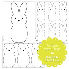 Here is a cute printable peeps shape template for your Spring crafts and activities. This printable peeps shape template does have two eyes and a nose. If you need a peeps bunny shape with no Bunny Templates, Shape Templates, Printable Shapes, Templates Printable Free, Easter Activities, Preschool Crafts, Kids Crafts, Easter Projects, Crafty Projects