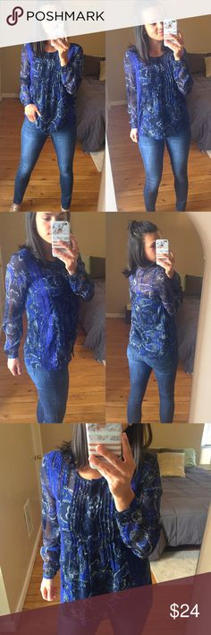 """Lucky Brand Paisley Sheer Navy Button Down Sheer navy blue paisley button down blouse.  Sleeves can be rolled up or down.  Thin material.    Measurements: 17"""" bust 25.5"""" length 24"""" length of sleeve from shoulder  Materials: 100% polyester  No Trades Lucky Brand Tops Button Down Shirts"""