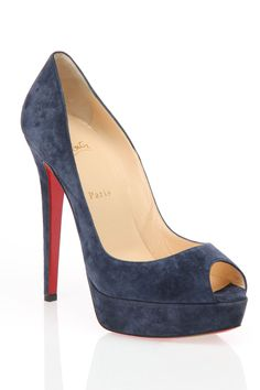 Christian Louboutin Banane Suede Pumps In Navy