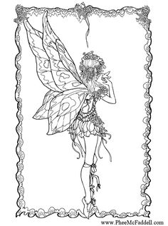 fairy and bird coloring page