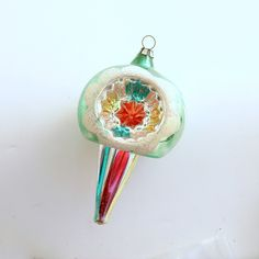 Vintage Christmas Ornament Glass Ornament Indents Drop Spire West Germany by efinegifts on Etsy
