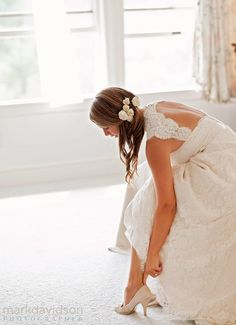 wedding dress, bride getting ready