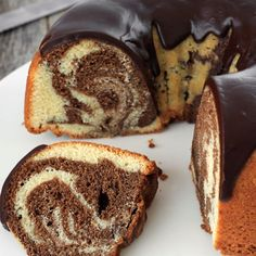 Our marble cake recipe will impress your guests with its dramatic, shiny glaze! It's made from chocolate, honey and vanilla, and comes together in just minutes. - Everyday Dishes & DIY