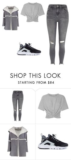 """""""total grey look"""" by hyndmeriem ❤ liked on Polyvore featuring River Island, T By Alexander Wang, Boohoo and NIKE"""