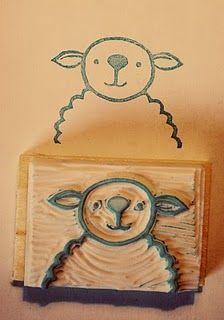 #stamp #stempel #zelfgemaakt #hand carved stamp #handgesneden stempel #sheep stamp #schaap stempel