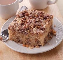 See's Candies Pecan Buds Banana Coffee Cake recipe. Perfect for sharing with holiday guests.
