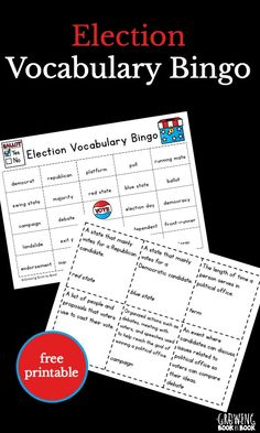 Election activities for kids - a great way to build a child's vocabulary about the process. Play Election Vocabulary Bingo to work on learning about polls, ballots, landslides, and more. The kids will be able to talk about the next president in a schola Vocabulary Games For Kids, Bingo For Kids, Worksheets For Kids, Vocabulary Strategies, Social Studies Activities, Teaching Social Studies, Learning Activities, Spelling Activities, Election Games