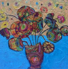 """Mothers Day blooms  Original mixed media work by Rea Kelly. 2015  10"""" x 10""""  Original framed  $300, Print on paper  $25"""