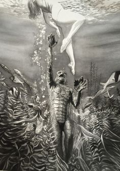 Alex Ross Art Premieres Universal Monsters Portraits at SDCC 2017! The Creature from the Black Lagoon (1954)