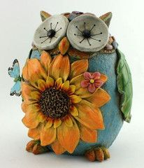 Owl Figurine with Sunflower Garden Statue U$24