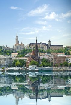 Painting of Budapest and the Danube waterfront